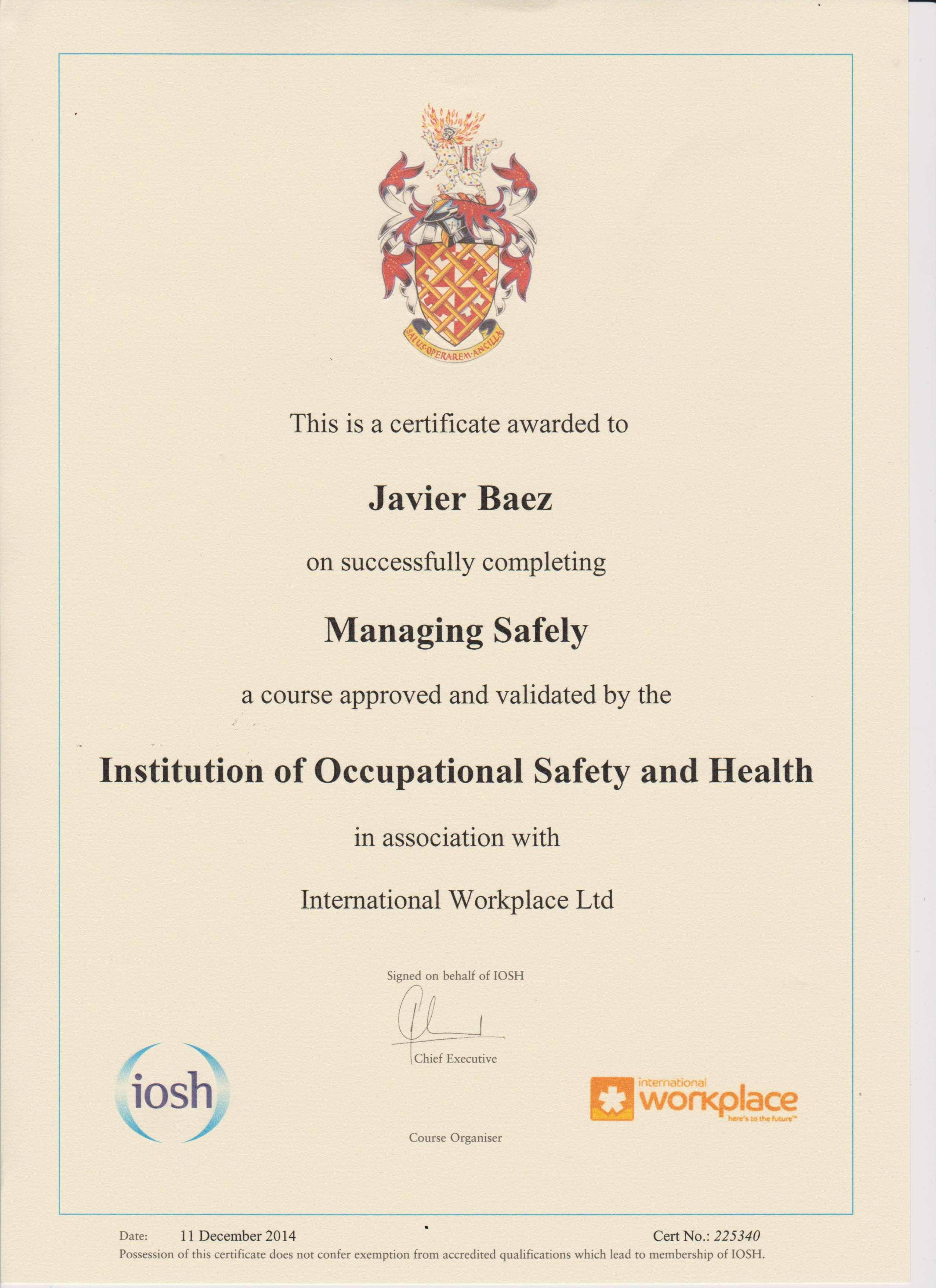 managing safely Iosh managing safely is the ideal course for members of staff who are required to manage health and safety at work this iosh managing safely course teaches learners the skills necessary to manage safety in compliance with their organisation's safety policy and best practice in occupational health and safety.