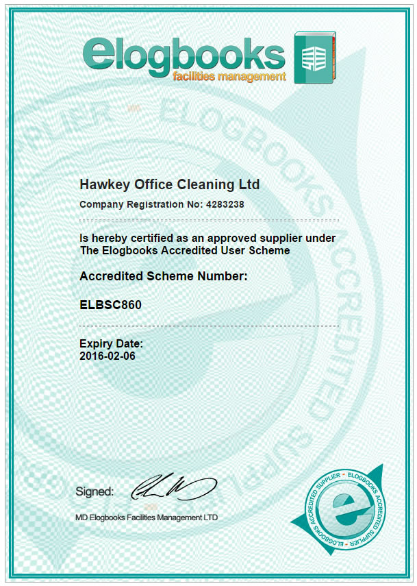 Hawkey Cleaning association and accreditation with Elogbooks
